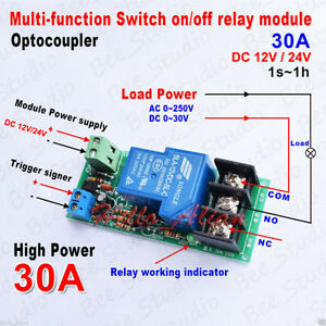 Dc12v 24v 30a High Power Multifunction Time Delay Turn On off Timer Relay Module