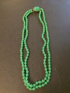 Antique Vintage Chinese Apple Green Jade 6mm Beaded Two Strands Necklace