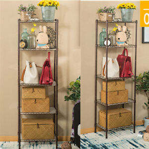 Us 5 tiers Metal Wire Shelves Layer Shelving Home Storage Rack Cart W Wheels