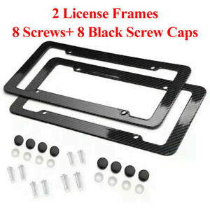 Black Car Carbon Look License Plate Frame Cover Front Rear Universal