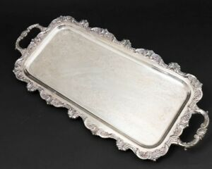 Towle Silverplate Rectangular Footed Serving Platter Handled Servant Tray 24 L