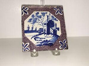18th Century Dutch Delft Maganese Tile With House Ocean Scene A