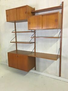 Teak Wall Mounted Unit By Poul Cadovius Shelving Cabinets