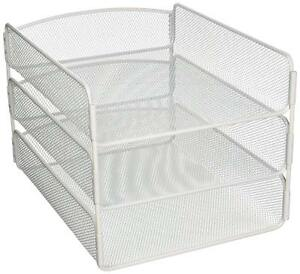 Desk Tray 3 Tiers Steel Letter Organizer File Mesh Drawer Document Sorter White
