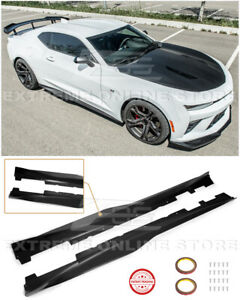 Eos Zl1 Style Primered Black Side Skirts Panel Extension For 16 Up Camaro Rs Ss