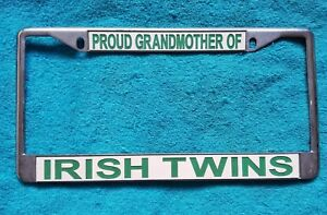 Proud Grandmother Of Irish Twins Heavy Duty Metal License Plate Frame Tag