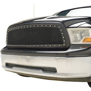 2009 2012 Dodge Ram 1500 Rivet Mesh Grille Grill Replacement Abs Black