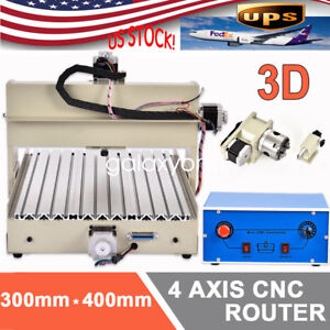 4 Axis Cnc Router Engraver Engraving Drilling Milling Machine 3040 400w Us Ship