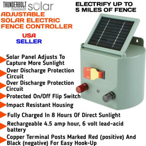 Solar Powered Electric Fence Charger Farm Horses Cattle Adjustable Control
