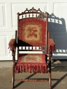 Antique Victorian Etched Stick Ball Tapestry Carpet Bag Seat Folding Chair