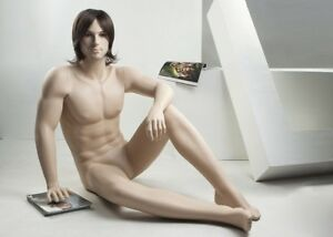 Realistic Male Mannequin Sitting All Made Of Fiberglass ntm1