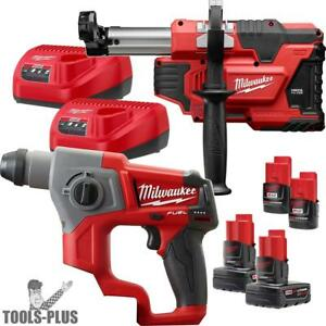 Milwaukee 2416 22xc 5 8 M12 Fuel Sds Rotary Hammer W hepa Dust Extraction New