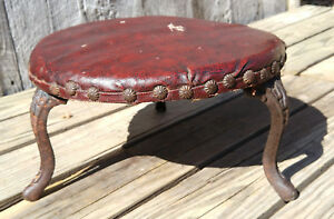Antique Victorian Indiana Furniture Co Foot Stool Cast Iron Legs Red Upholstery