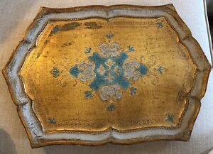Antique Italian Hand Painted Gold Blue Florentine Wood Tole Serving Vanity Tray