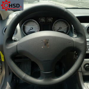 Black Hand Stitching Sewing Leather Steering Wheel Cover For Old Peugeot 408 308