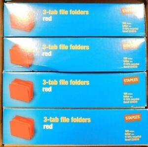 4 Boxes 400 Staples Colored File Folders 1 3 Cut Assorted Top Tab Letter Red
