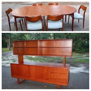 Mobler Teak Danish Mid Century Modern Dining Table Set Chairs Buffet Credenza
