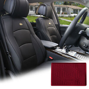 Black Leather Auto Seat Covers Cushion Pad Front Buckets With Burguny Dash Mat