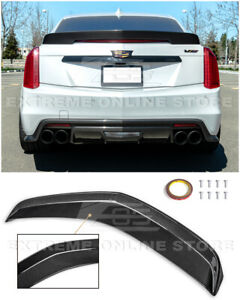 For 16 19 Cadillac Cts V Carbon Fiber Package Rear Trunk Lid Wing Spoiler