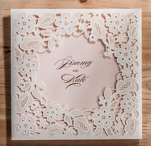 Doris Home Square White Laser cut Lace Flower Pattern With Pink Inner Wedding 50
