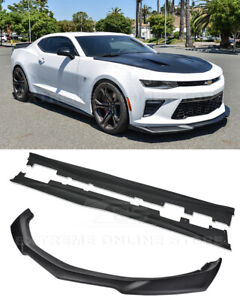 Eos Zl1 Style Primered Black Front Splitter W Side Skirts For 16 Up Camaro Ss