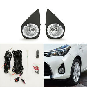 Clear Fog Lights For 2015 2017 Toyota Yaris Hatchback 2 4dr W bezel Switch Bulbs