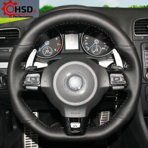 Leather Steering Wheel Cover For Volkswagen Golf Gti Mk6 Polo Scirocco Passat R