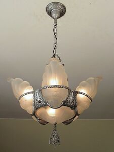 Gorgeous Antique 1930s Slip Shade Light Fixture Professionally Restored