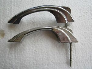 2 Vintage 1950 S Chrome Push Button Stepped Sides Cabinet Door Pulls Handles