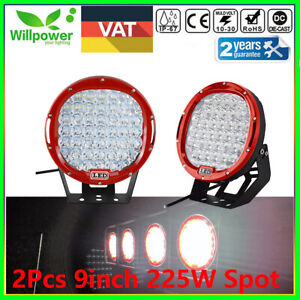 2pcs 9inch 225w Led Round Work Light Spot Flood Driving Head Lamp Offroad Jeep