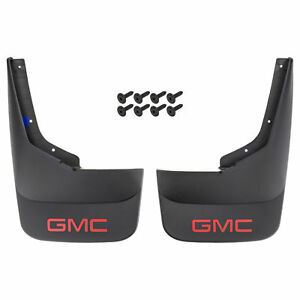 Oem New Rear Splash Guard Mud Flaps Black W red Gmc Logo 07 14 Sierra 19212553