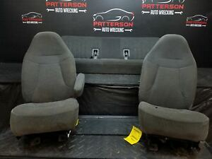 1993 Ford Pickup F150 Set Of Left Right Front Bucket Seat Rear Bench Gray Aj