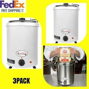 Avantco 6 Qt Stainless Steel Soup Kettle Warmer Commercial Nacho Cheese 3 Pack