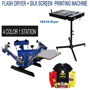 4 Color 1 Station Silk Screen Printing Press Machine 18 X 18 Flash Dryer