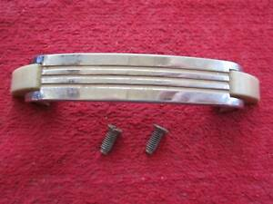 Vintage Art Deco Chrome With Off White Tan Lines Cabinet Door Pull Handle