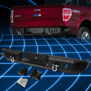 For 09 14 Ford F150 Black Rear Heavy Duty Steel Step Bumper With Dual D rings
