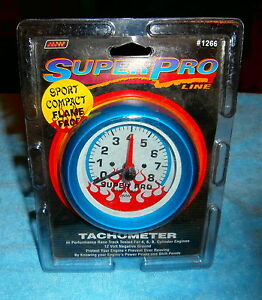 Super Pro Tachometer 3 1 2 Inch Diameter Face 3 7 8 In Total Diameter Blue