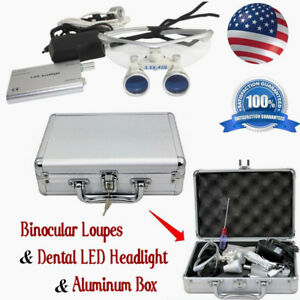 3 5x420mm Dental Surgical Binocular Loupes dental Led Headlight aluminum Box Usa