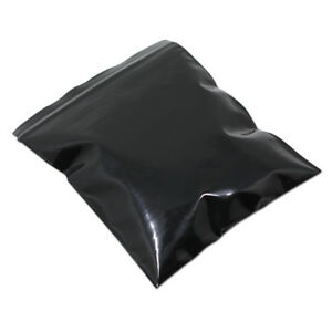 Black Plastic Resealable Zip Lock Packing Bags Grip Seal Light Proof Pack Pouch