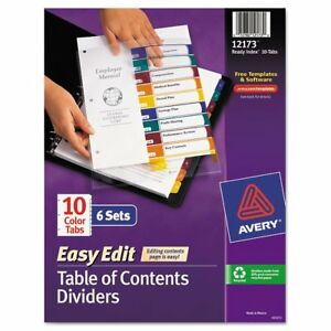 Avery Ready Index Customizable Table Of Contents Asst Dividers 10 tab Ltr