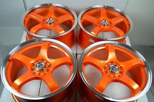 17 Orange Wheels Rims Beetle Optima Is250 Is300 Civic Accord Jetta 5x100 5x114 3