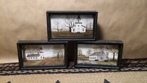 Billy Jacobs Small Box Framed Church Pictures Set Of 3 New Inspirational