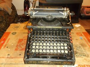 1908 Smith Premier No 10 Typewriter Functional Vintage Antique 24707 Serial