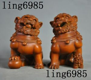 Antique Chinese Boxwood Wood Hand Carved Fengshui Lion Foo Dog Beast Statue Pair