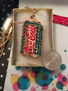 Betsey Johnson Necklace COCA COLA COKE Blue Red Gold Crystal COKE CAN Gift Box