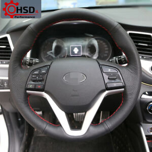 Hand stitched Sewing Leather Steering Wheel Cover For Hyundai Tucson 2015 2016