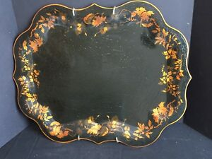 Antique Vintage Hand Painted Tole Tray C 1949 In Wall Hanging Display Mount