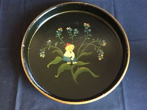 Antique Vintage Hand Painted Tole Tray With Fairy Gnome Elf C 1946