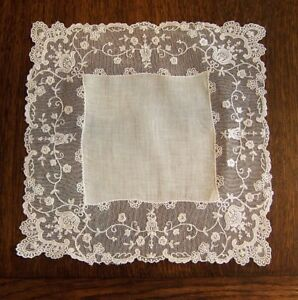Antique Fine Lace Border Wedding Hankerchief 11 1 2 By 11 1 2