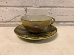 Antique Des Pat Japanese Porcelain Cup And Saucer Mt Fuji Decorated